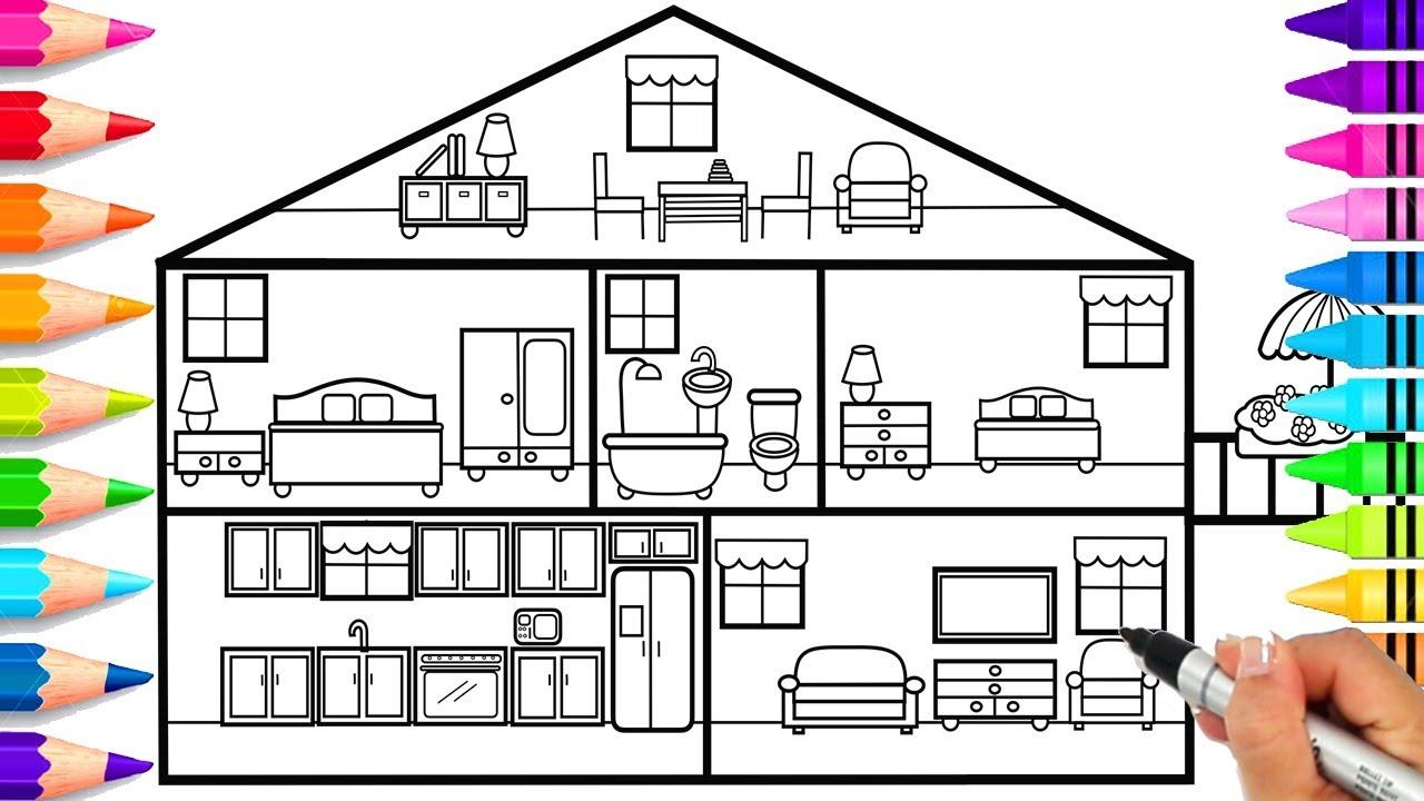 Картинка трех этажного дома срисовать с комнатами