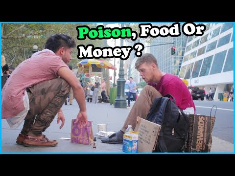POISON, FOOD, Or MONEY Options HOMELESS Experiment (Social Experiment)