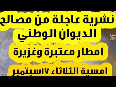 نشرية تحذيرية عاجلة من مصالح الديوان الوطني تحذر من امطار غزيرة الثلاثاء 17 سبتمبر 2019