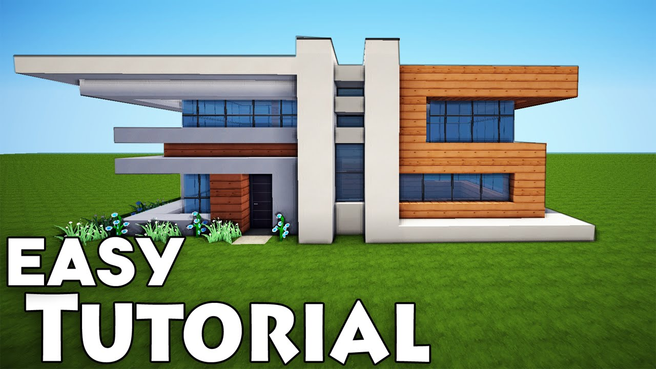 Minecraft small easy modern house tutorial how to build for Big modern houses on minecraft