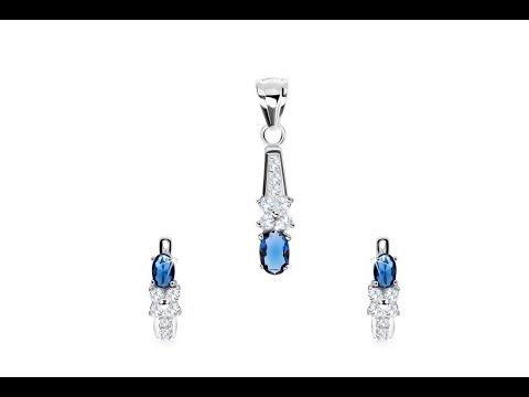 8790b11f3 Šperky - Strieborná sada 925 - náušnice a prívesok, zirkónový kvet,  tmavomodrý ovál. Šperky eshop