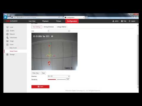 How to setup line crossing detection on a Hikvision IP Camera web interface