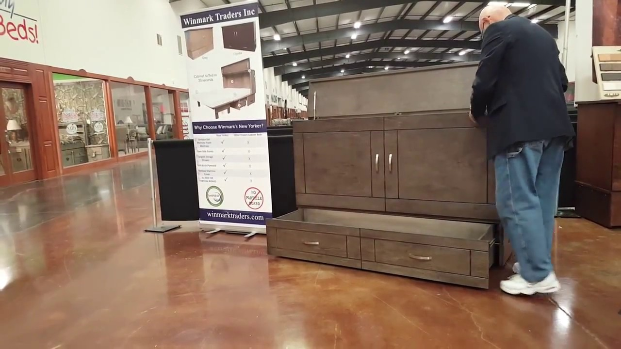 Electric Murphy Bed New Yorker Queen Cabinet Bed Murphy Bed By Winmark Traders Youtube