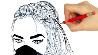 How to draw a girl tumblr easy