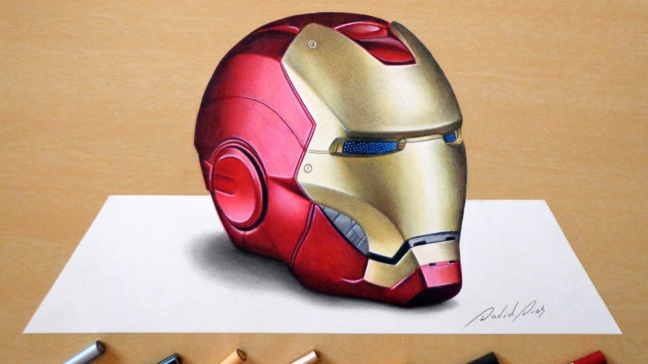 3D Drawing: Iron Man's helmet - YouTube