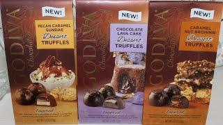 Godiva Dessert Truffles: Pecan Caramel Sundae, Chocolate Lava Cake & Caramel Nut Brownie Review