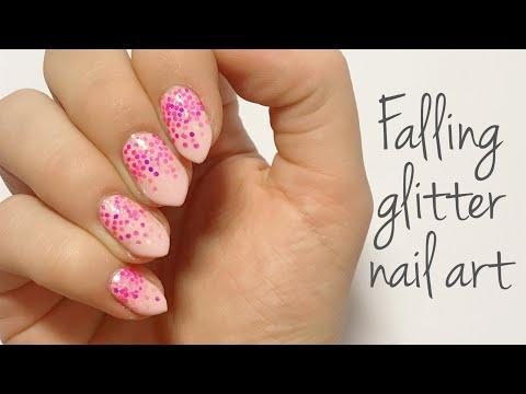 Falling Pink Glitter Nail Art Tutorial | @nailsbyfg | thumbnail