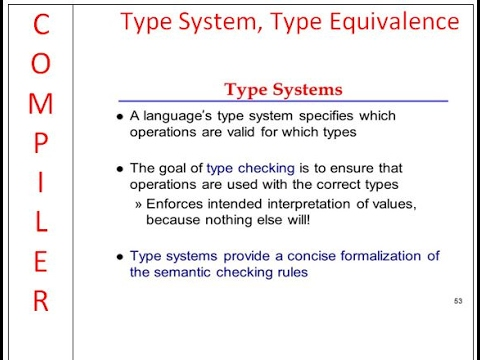 Compiler Design:  Type System, Type Equivalence,Type Checker