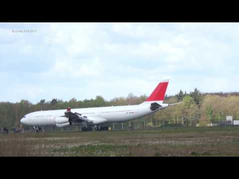 LX5180 Final Touchdown with live audio recording Swiss Air HB-JMK Airbus A340-300 at Twente Airport