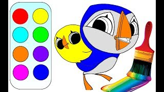 Learn colors with Puffin rock coloring pages for kids for children