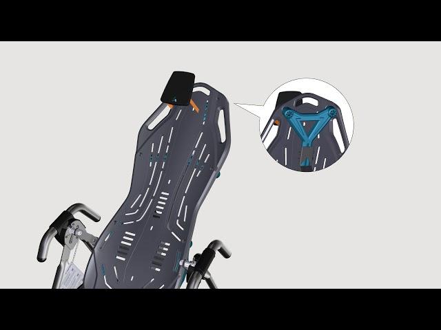 Attachez la courroie d'attache angulaire et le repose-tête | Série FitSpine X