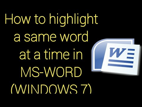 How To Highlight A Same Word In MS-WORD Document|WINDOWS 7|zha Karam Channel