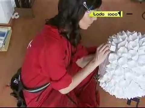 C mo hacer una l mpara de papel con origami txm youtube - Como decorar tulipas de lamparas ...