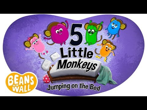 5 Little Monkeys Jumping on the Bed  Kids Songs  Beans in the Wall