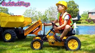 Download lagu Ride On Pedal Tractor Toy Unboxing Playing with Dump Truck Backhoe Digger MP3