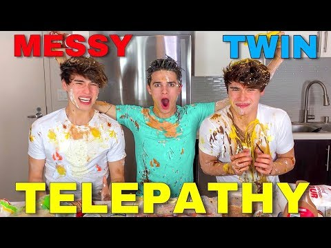 MESSY TWIN TELEPATHY CHALLENGE w/ Brent Rivera