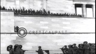US 3rd Infantry Division troops  raise US flag and exhibit parade at Zeppelinfeld...HD Stock Footage