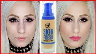 TESTING Drugstore W7 Makeup Skin Fresh Foundation  || REVIEW + DEMO!