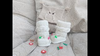 ПИНЕТКИ С ПОПЕРЕЧНОЙ КОСОЙ и БЕЗ  ЕДИНОГО ШВА для новорожденного !!!!! Вязание спицами.