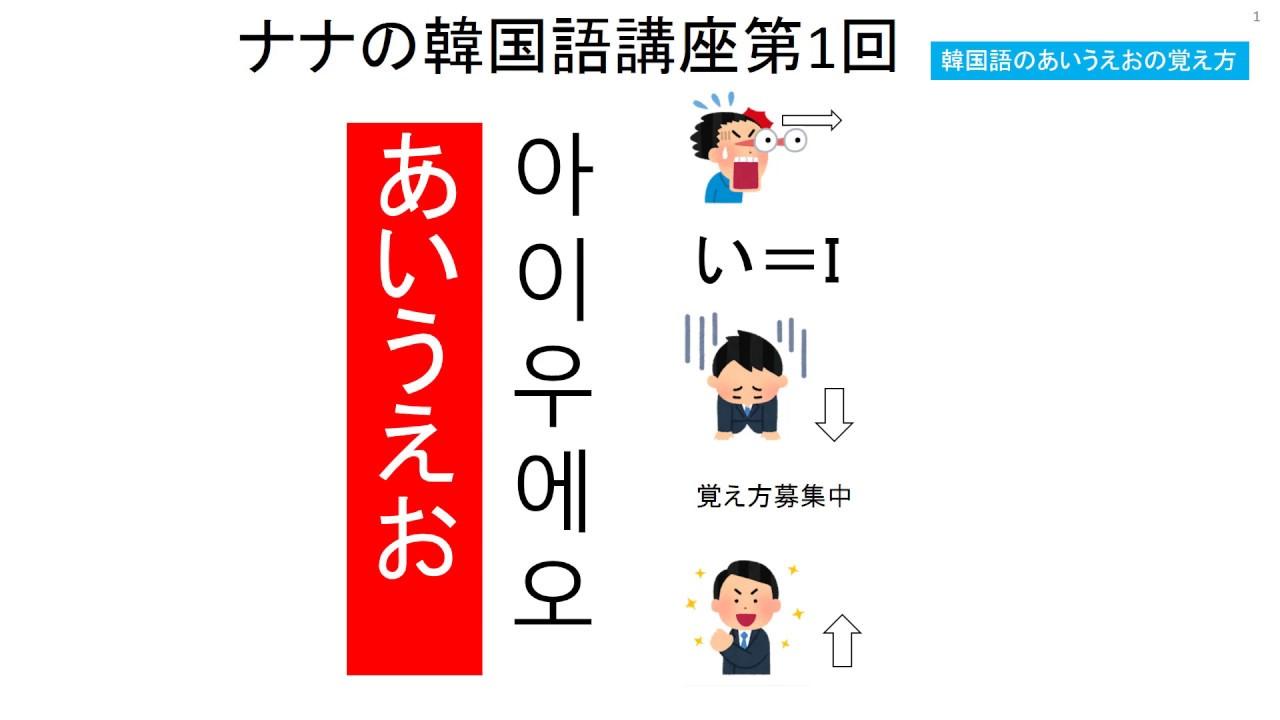 ナナの韓国語講座第1回あいうえおの覚え方 動画 Youtube