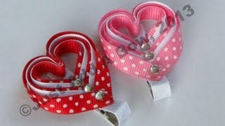 Repeat youtube video HOW TO: Make a Layered Valentine's Day Heart Clip Tutorial by Just Add A Bow