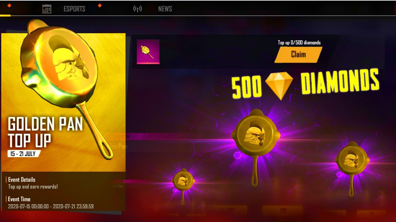 "Golden Pan Top Up 500 Diamonds And Get Free ""Golden Pan 