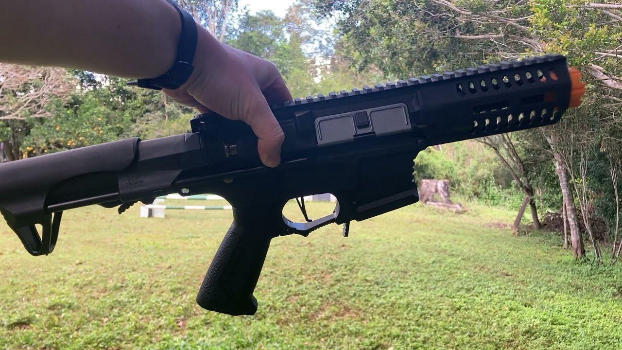 Toy ARP9 Gel Blaster range test