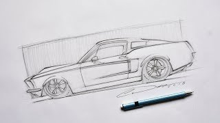 How to Draw Cars - Ford Mustang Pencil Sketch