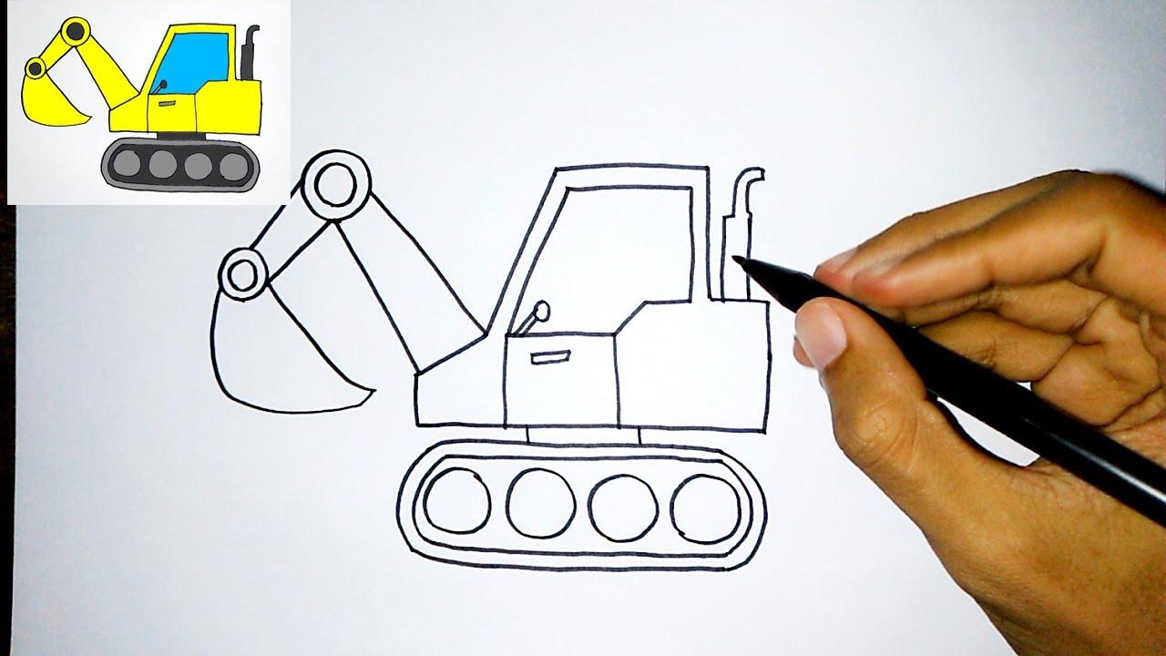 Menggambar Mudah Untuk Anak Excavator How To Draw An Excavator Easy Youtube