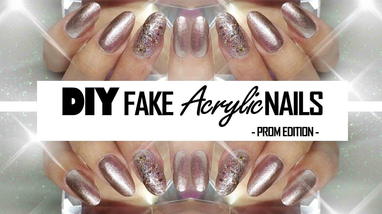 DIY: Fake nails at HOME - Prom edition | Nail fairy Acrylics - YouTube