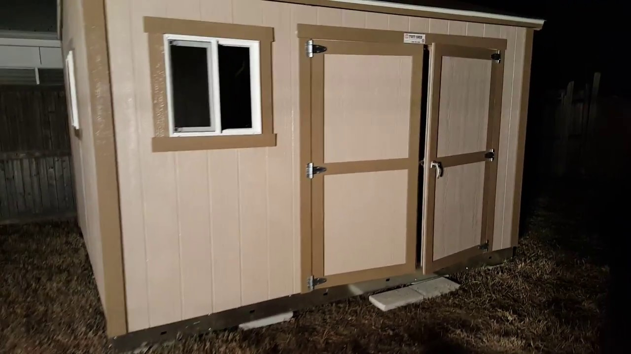 Tuffshed Double Doors And Windows. Notrius Color With Hat Box Brow Trim.