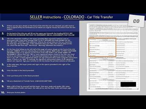 Car Title Transfer Instructions - Colorado SELLER