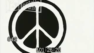 Stock Footage - ANIMATION - PEACE SIGNS AND CURRENCY SYMBOLS ON WHITE BACKGROUND 1970s 1980s