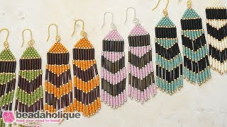 How to Make the Chevron Beaded Fringe Earrings Kit by Beadaholique