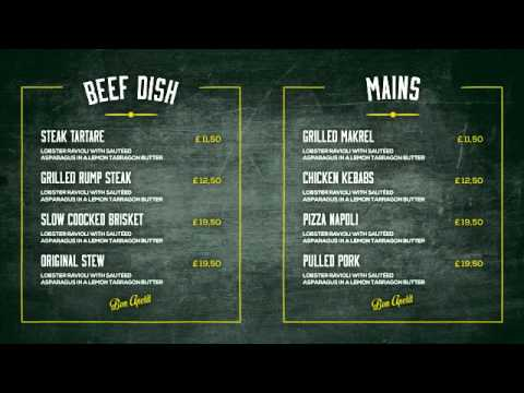 Vintage Food Menu - Restaurant Display - Youtube