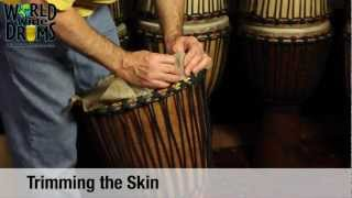 Djembe Repair & Rehead - Trimming Goat Skin on Djembe Drum