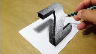 Easy Drawing 3D Letter with Pencil - How to Draw Letter Z - Trick Art by Vamos