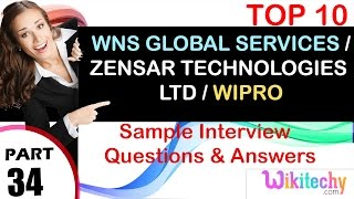 wns global services   zensar technologies ltd   wipro top most interview questions and answers