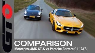 Mercedes-AMG GT vs Porsche 911 GTS test battle - English subtitled