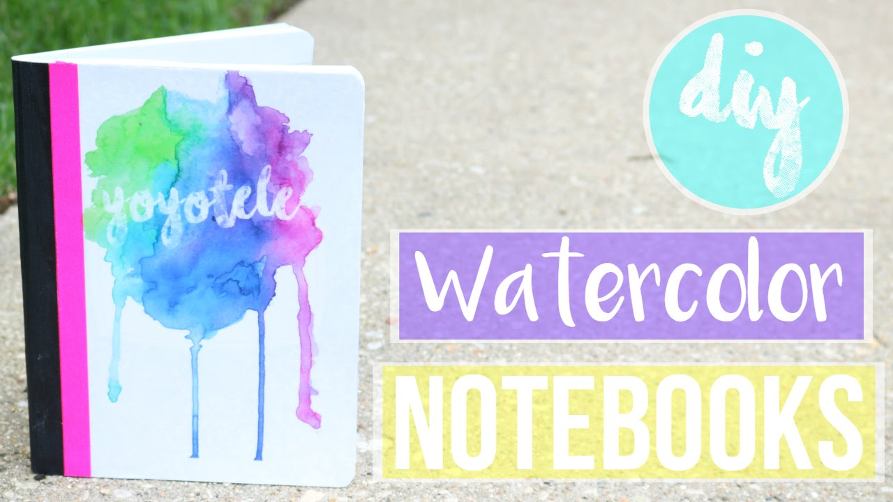 Watercolor book covers - Diy Watercolor Notebook Without Watercoloring Back To School 2016 Yoyotele Youtube