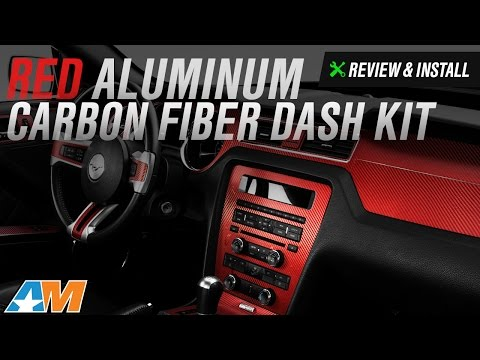 2010-2014 Mustang Red Aluminum Carbon Fiber Dash Kit Review & Install