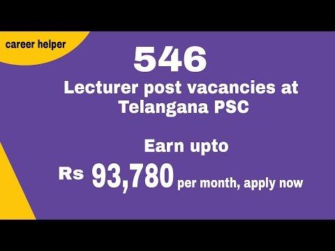 Telangana PSC Notification 2017   546 Lecturer post vacancies at Telangana PSC: