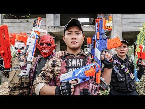 ltt-films-:-swat-silver-flash-nerf-guns-fight-criminal-group-tiger-mask-illegal-intrusion