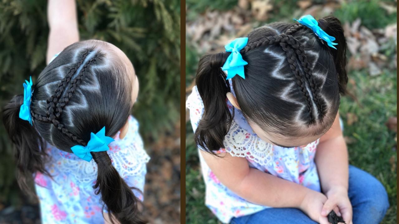 Peinado para ni as con trenzas en zigzag y coletas - Peinados de ninas ...