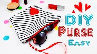 DIY PURSE BAG SO CUTE AND SIMPLE TUTORIAL [Zipper Bag & Make-Up Bag]