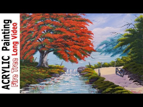 Acrylic Landscape Painting Tutorial | Lesson | Techniques | Long Video – Fire Tree by Resim Sevgisi