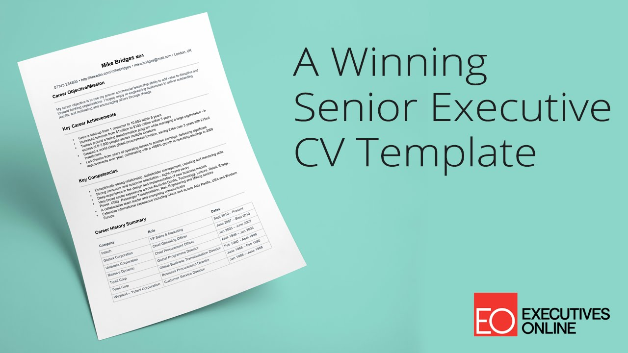 A Winning Senior Executive Cv Template  Eo Masterclass Part   Youtube