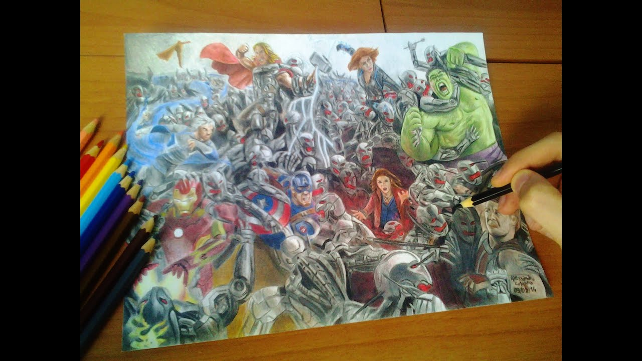 Speed Drawing 5 Avengers Age Of Ultron Youtube