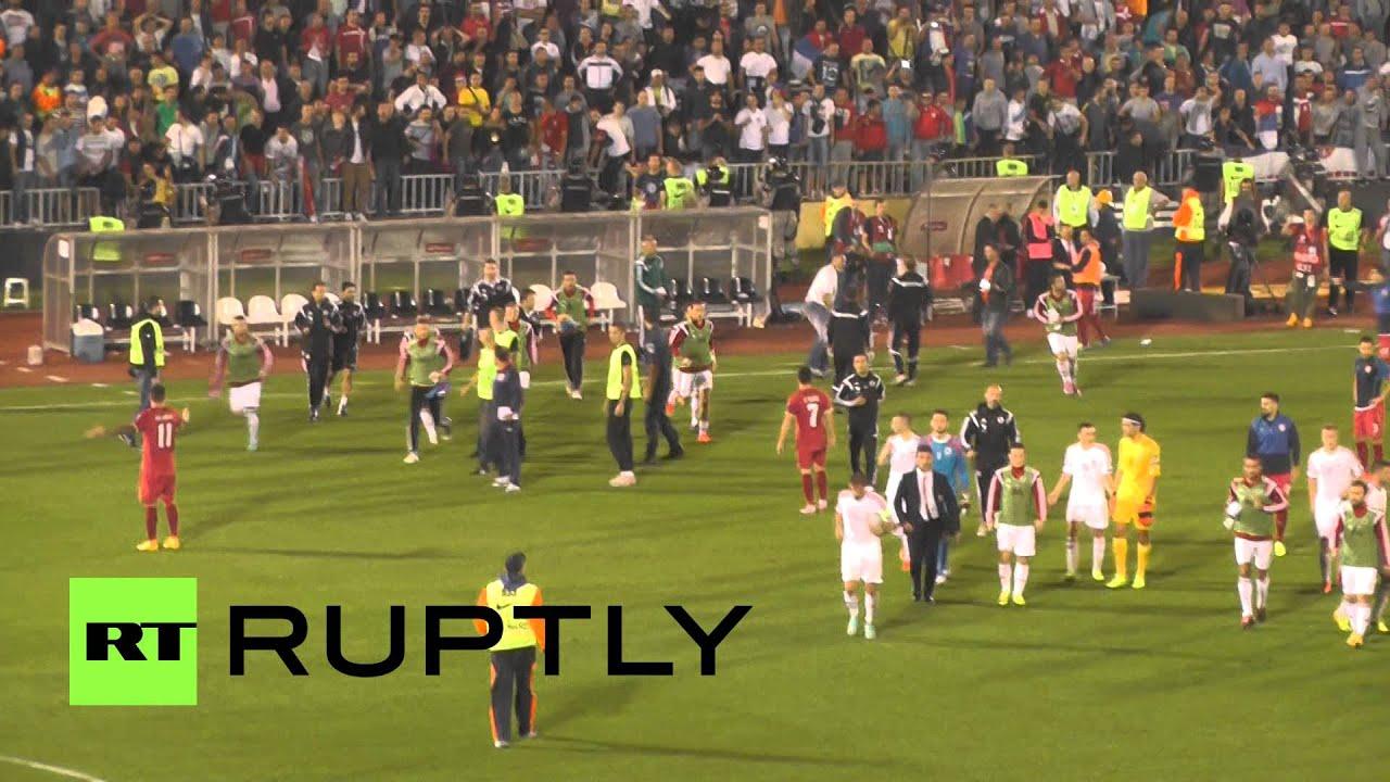 Serbia v Albania football abandoned over drone flag stunt fury