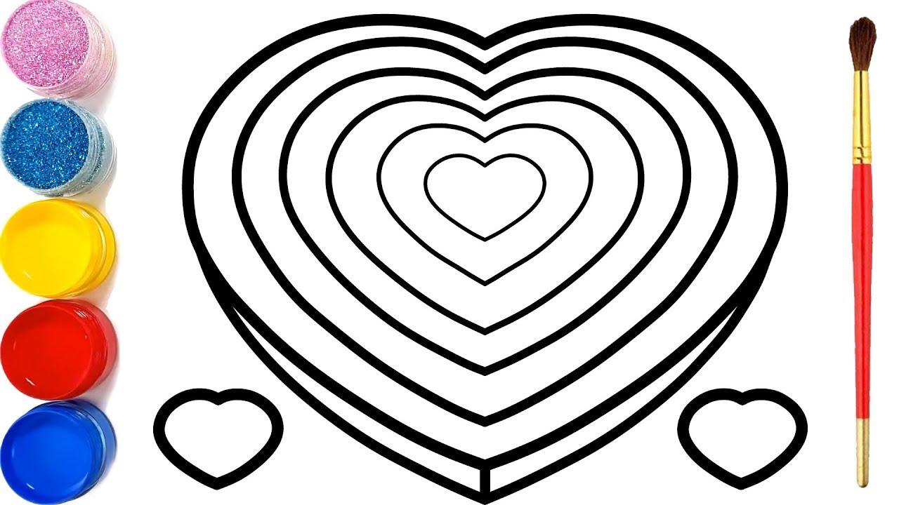 Vẽ Trái tim 3D đơn giản và tô màu cho bé | Dạy bé vẽ | Dạy bé tô màu | Mewarnai Hati